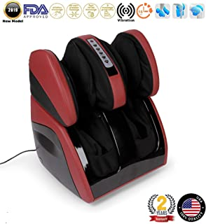 VITALZEN Plus® Massager for feet, Calves, Legs, Knees and Thighs – Red (2019 New Model) - Compression-Air Massage-Rollers-Thermal-Heating-Kneading-Foot Reflexology - 2 Years Warranty GLOBAL RELAX® US