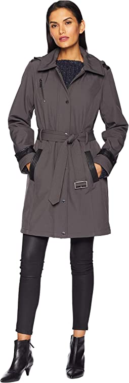 Snap Front Belted Softshell Coat M523004GZ