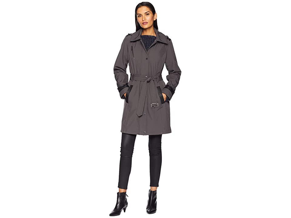 MICHAEL Michael Kors Snap Front Belted Softshell Coat M523004GZ (Charcoal) Women