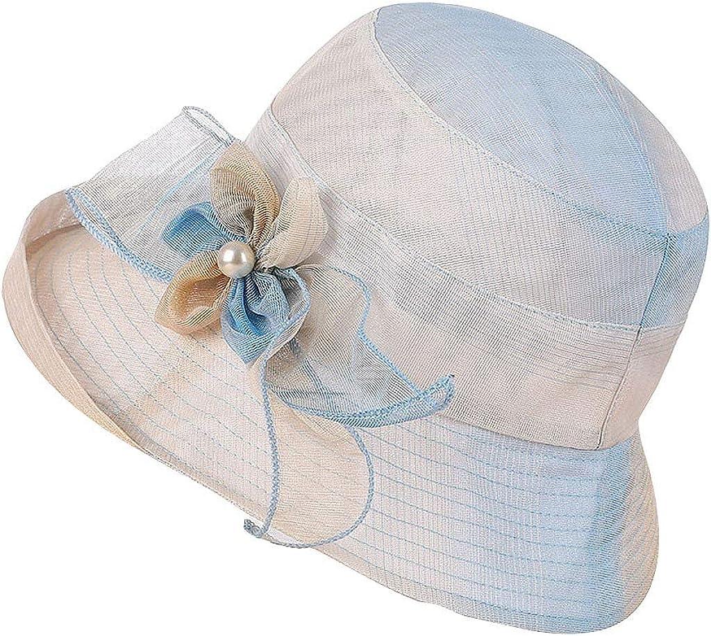 Sttech1 Girl Lady Hat Headwear Organza Church Feather Clip Fascinators Hat Wedding Party Kentucky Derby Cap for Women