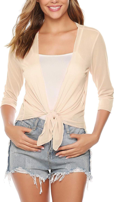 Aiboria Womens 3/4 Sleeve Sheer Mesh Shrug Tie Front Cropped Bolero Cardigan