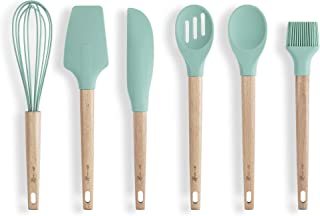 HomeArt Silicone Baking Utensils Set | Kitchen/Cooking Tools - Spatula, Pastry Brush, Whisk, Scraper, Slotted and Solid Spoon | Non-Stick, Non-Scratch, Heat Resistant | Mint Color