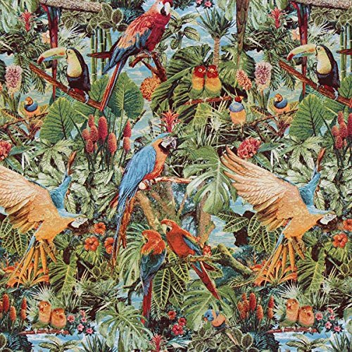 Fabulous Fabrics Jacquard Gobelin Tropen Paradies – grün — Meterware ab 0,5m — zum Nähen von Dekoration, Kissen und Tischdecken