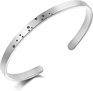 Memgift Personalized Zodiac Bracelet Constellation Stainless Steel Cuff Women Horoscope Birthday Gift Jewelry