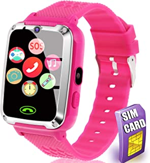 [SIM Card Include] Smart Watch for Kids - Kids Smart Watch Phone for Boys Girls with Phone Call Camera Games Music Alarm Clock Calendar Kids Smartwatch Electronic Wrist Watch for Birthday Gift (Pink)