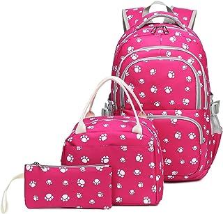 Kids Girls Backpack Elementary School Paw Prints Bookbag 3pcs Set with Lunch Bag (Rose)