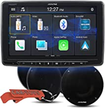 """Alpine iLX-F259 Halo9 9"""" Single Din Mech-Less Digital Media Receiver Car Music Lover's Bundle with 4 Alpine R-S65.2 Coaxial Speakers. with Bluetooth, Apple CarPlay/Android Auto, SiriusXM Compatible"""
