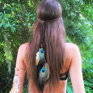 Barode Boho Peacock Feather Headband and Armband Hippie Tassel Hairband Indiana Headdress Party Prom Decoration Hair Accessories for Women and Girls(set of 2) (Brown)