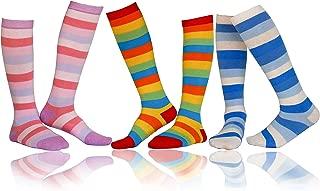 Jewatiby Girls Knee High Socks Kids Toddler Colorful Stripe Cotton Stockings Dress Dress Socks 3 Pairs Pack