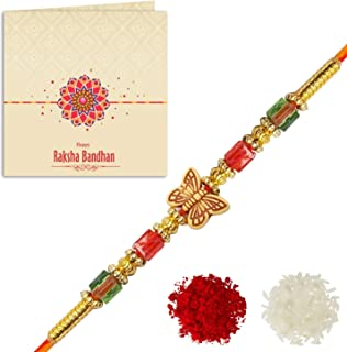 YouBella Rakhi and Greeting Card Combo for Brother (Multi-Colour) (YBRK_75)