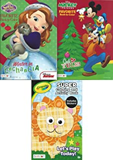 Bendon Publishing Christmas 2 Coloring Book Bundle (Sofia The First Winter in Enchancia and Mickey and Friends, Cool Yul...