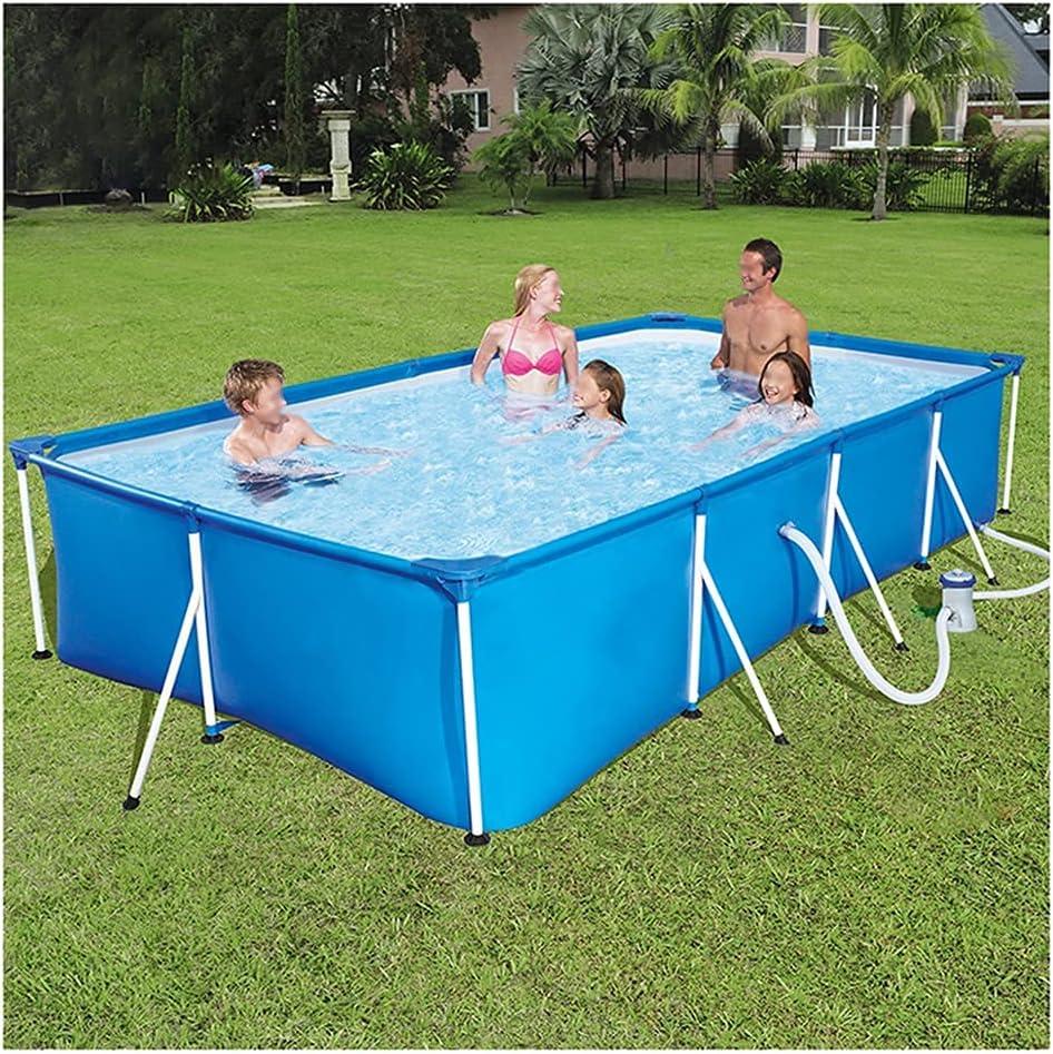 Piscina rectangular de suelo para el hogar 400 * 211 * 81 cm, gran piscina rectangular al aire libre, soporte de metal galvanizado, PVC de 3 capas, fácil de instalar (color: azul, tamaño: 400