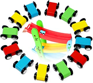 Lewo 12 Pack Mini Wooden Race Replacement Cars for Ramp Toy Toddlers Race Car Racer Set