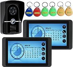 Videodeurbel, Intercom, Bekabelde 7-Inch Videodeurtelefoon Voor Huisbeveiliging, 2 Touchscreenmonitoren + IR-Nachtzichtcam...