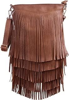 HDE Women's Leather Hobo Long Fringe Crossbody Tassel Purse Small Handbag