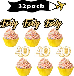 Gold 40th Forty Cupcake Toppers - Birthday Anniversary Party Dessert Decorations Supplies - Set of 32