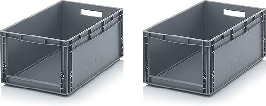 2x Euro Sichtlagerkasten 60 x 40 x 27 cm inkl. gratis Zollstock * Eurobehälter mit Fenster