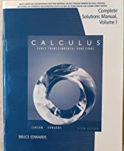 Calculus; Early Transcendental Functions, Complete Solutions Manual, Volume I 5th edition