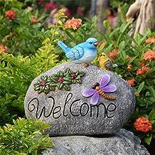 Tuin deur teken Hars Dier Sculpturen Decoratieve Vogel Bloem Welkom Teken Tuin Accessoires Voor Home Office Outdoor Yard B...