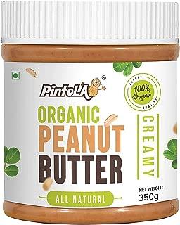 Pintola Organic All Natural Creamy Peanut Butter, 350G (Unsweetened, Non-GMO, Gluten Free, Vegan)