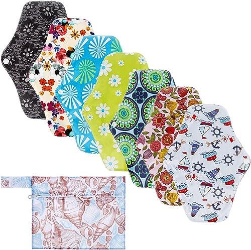 Rovtop 7 pcs 25.4cm Serviettes Hygiéniques Lavables Pads Menstruel Chiffon Serviette Menstruelle Réutilisables au Cha...