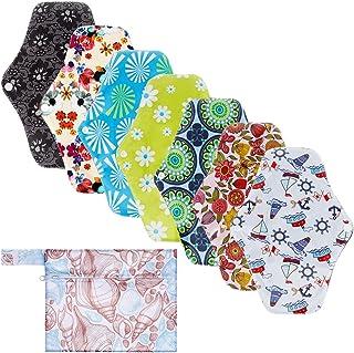 Rovtop 7 pcs 25.4cm Serviettes Hygiéniques Lavables Pads Menstruel Chiffon Serviette Menstruelle Réutilisables au Charbon ...