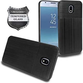 Z-GEN - Galaxy J3 2018 J3 Star/Achieve/Aura/Orbit, Sol3, Express Prime 3, Amp Prime 3, J3 V J3V 3rd Gen J337 - Hybrid Case for Samsung + Tempered Glass Screen Protector - CF2 Black