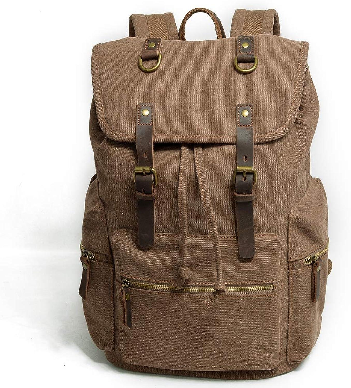 Lssige Umhngetasche Multifunktions Canvas Herren Tasche Retro Bergsteigen Tasche mit groer Kapazitt Reisetasche, braun, 15 Zoll
