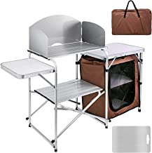 BotaBay Camping Outdoor Kitchen 2-Tier Camping Kitchen Table with Zippered Bag Camping Table 2 Side Tables Camp Cook Table...
