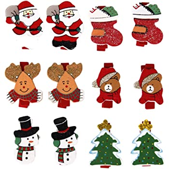 60 piezas clips de madera de Navidad Clavijas de Navidad Clips de fotos Mini pinzas de madera Clips de madera para manualidades Clavijas para fotos de bricolaje Clavijas de madera para manualidades