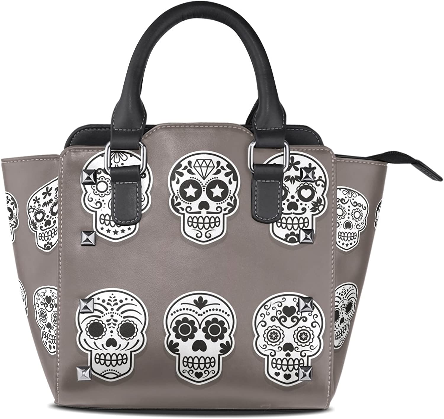 Sunlome Sugar Skull Flower Women's Leather Tote Shoulder Bags Handbags