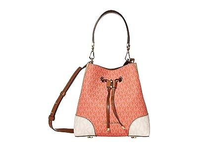 MICHAEL Michael Kors Mercer Gallery Small Convertible Bucket Shoulder (Pink Grapefruit Multi) Handbags