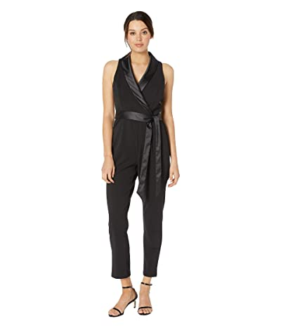 Adrianna Papell Knit Crepe Wrap Top Sleeveless Jumpsuit with Stretch Charmeuse Collar (Black) Women