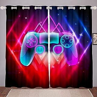 Erosebridal Video Game Curtains Boys Gamer Room Decor Gaming Curtains Blue Purple Red Gamepad Gaming Curtains Teens Kids A...
