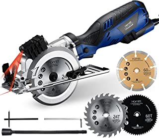 Circular Saw, Homitt 5.8A 3500RPM Compact Saw with Laser Guide, 3 Saw Blades(4-1/2