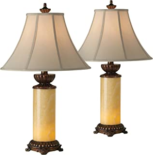 Asian Table Lamps Set of 2 Natural Onyx Stone Off White Bell Shade for Living Room Family Bedroom Nightstand - Barnes and Ivy