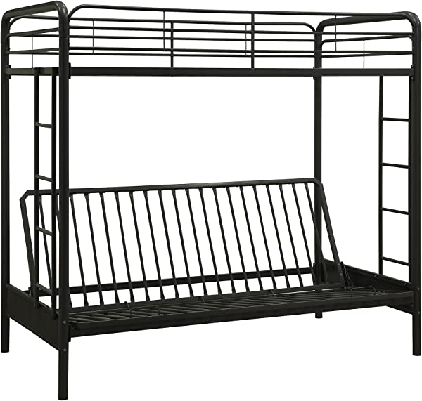 DHP Twin Over Futon Convertible Couch And Bed With Metal Frame And Ladder Black