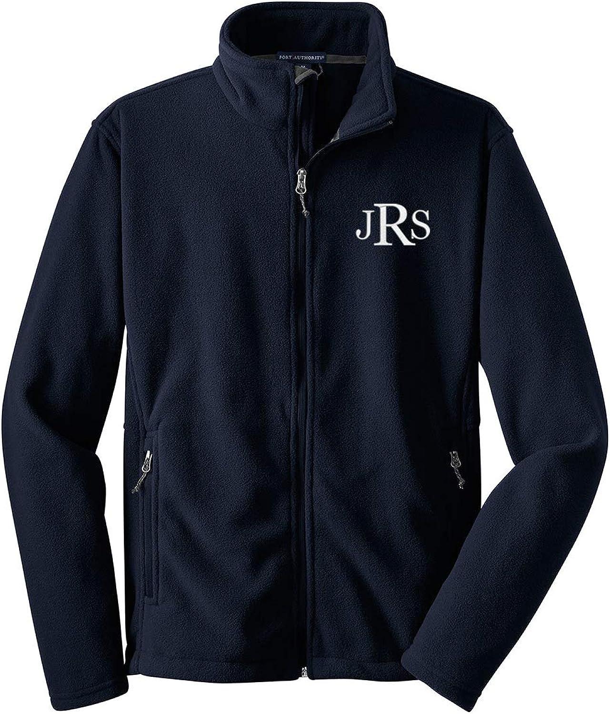 Cotton Sisters Mens Monogrammed Fleece Jacket - Personalized - Navy Fleece Zip Up