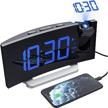 Mpow Projektionswecker, Radiowecker mit Projektion, Wecker Digital, Dual-Alarm, 4 Alarmtöne mit 3 Lautstärke, 15 FM Radio, USB-Anschluss, 6 Display-Helligkeit, 4 Projektionshelligkeit(Inkl.Adapter)
