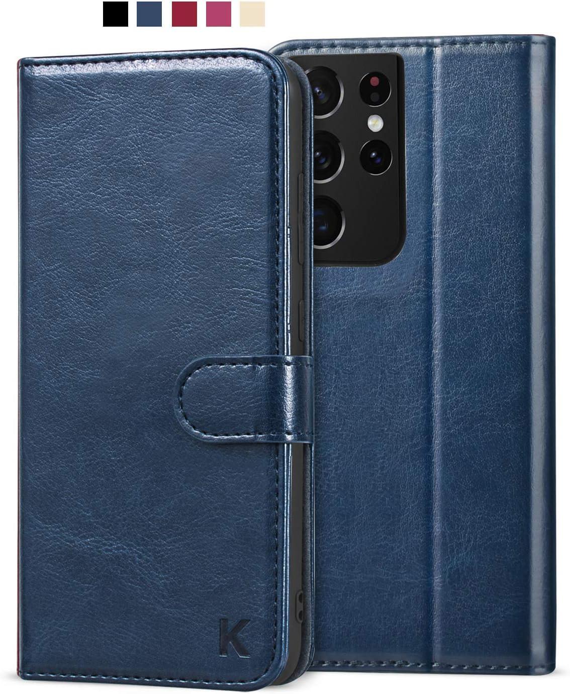 KILINO Galaxy S21 Ultra Wallet Case [RFID Blocking] [PU Leather] [Shock-Absorbent Bumper] [Soft TPU] [Card Slots] [Kickstand] Flip Folio Cover for Samsung Galaxy S21 Ultra 5G (Blue)