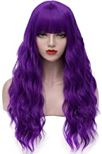 Asincbd Long Purple Wigs for Women 28 Inches Fluffy Wavy Hair Wigs with Bangs Full Synthetic Cosplay Costume Wig Heat Resistant AD002PR