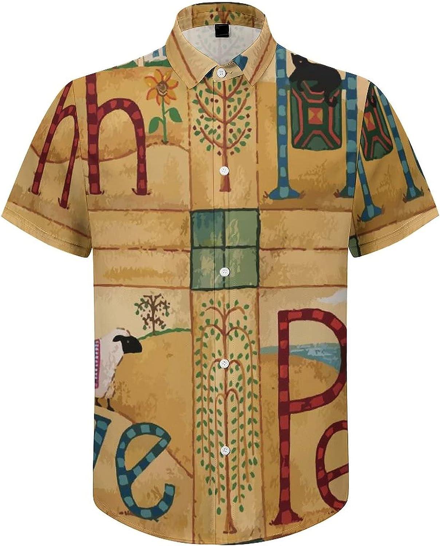Men's Short Sleeve Button Down Shirt Hope Love Faith Peace Summer Shirts