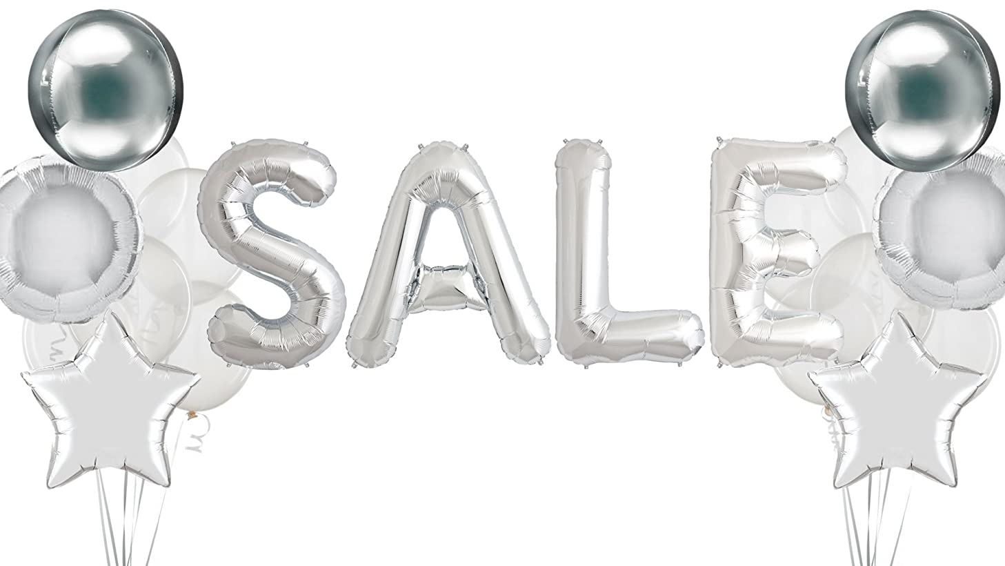 Sale Sign Retail Store Display For Business Signs Advertisement Signage Yard Sales Clearance Giant Letter Silver Balloons Star Orb Round Mylar Clear Glitter Confetti Mylar Foil Promotional Promotion