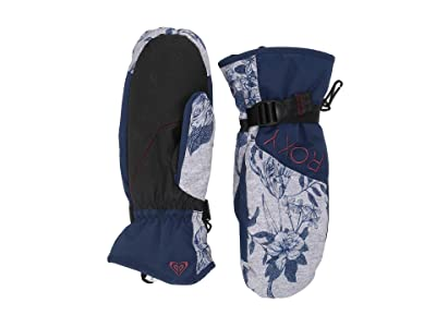 Roxy Roxy Jetty Snow Mitt (Heather Grey Botanical Flowers) Ski Gloves