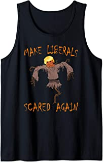 Trump Halloween Make Liberals Scared Again Funny Scarecrow Tank Top