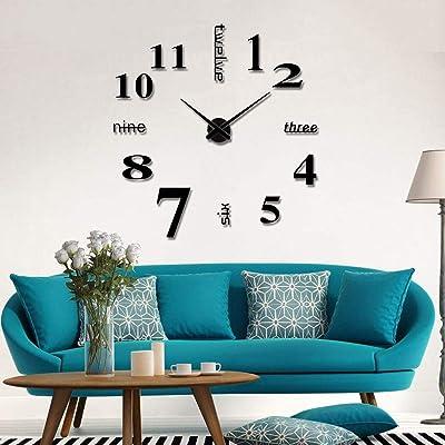 Foreverharbor Living Room Large Art Design 3D DIY EVA Hanging Wall Clock Mirror Decoration