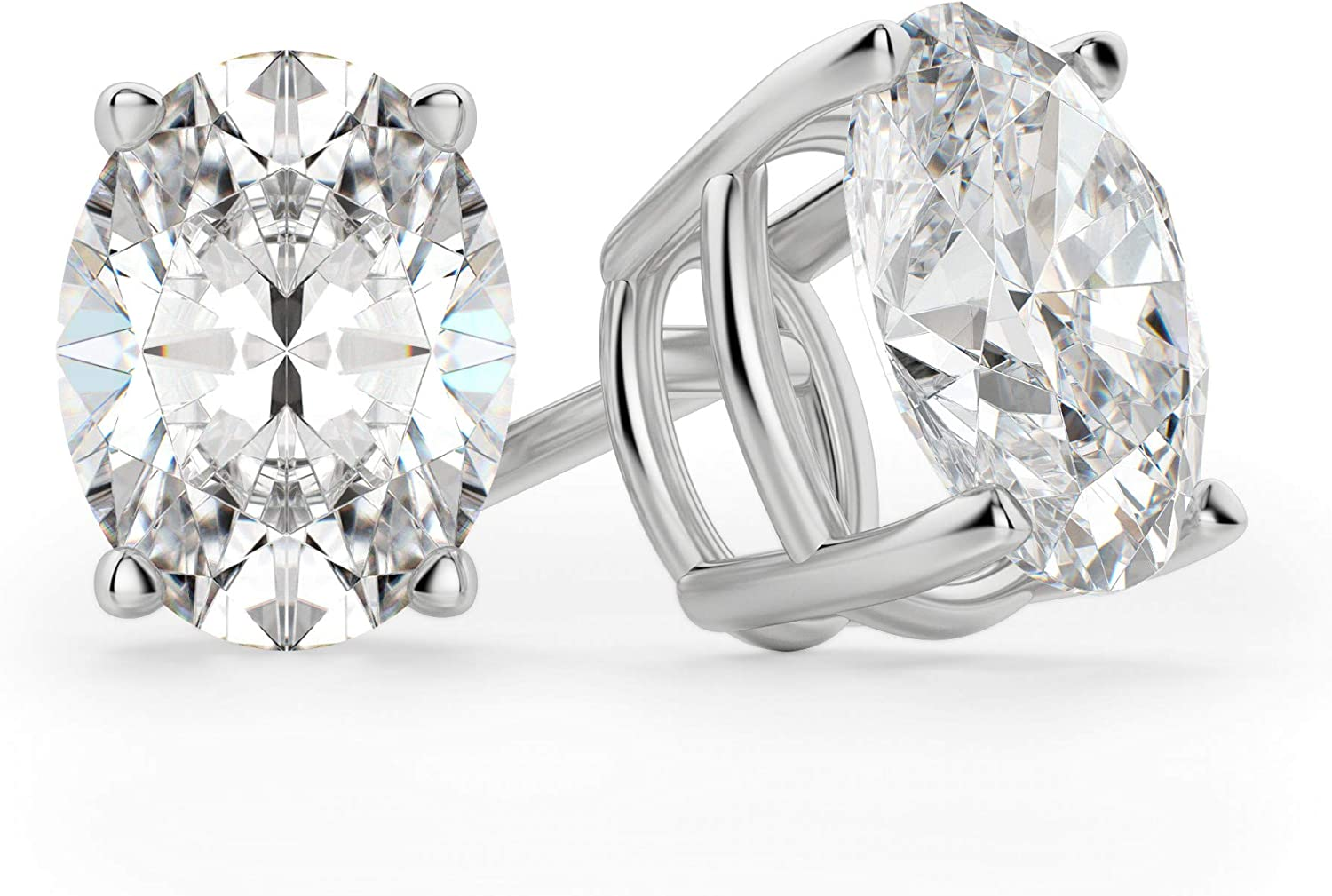 Bhumi Gems Oval Cut Mail order cheap VVS1 S Diamond Max 72% OFF Earrings Moissanite Colorless
