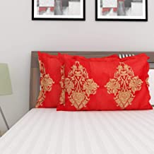 Home Centre Harold Printed Pillow Cover - Set of 2-70 x 45 cm - Red