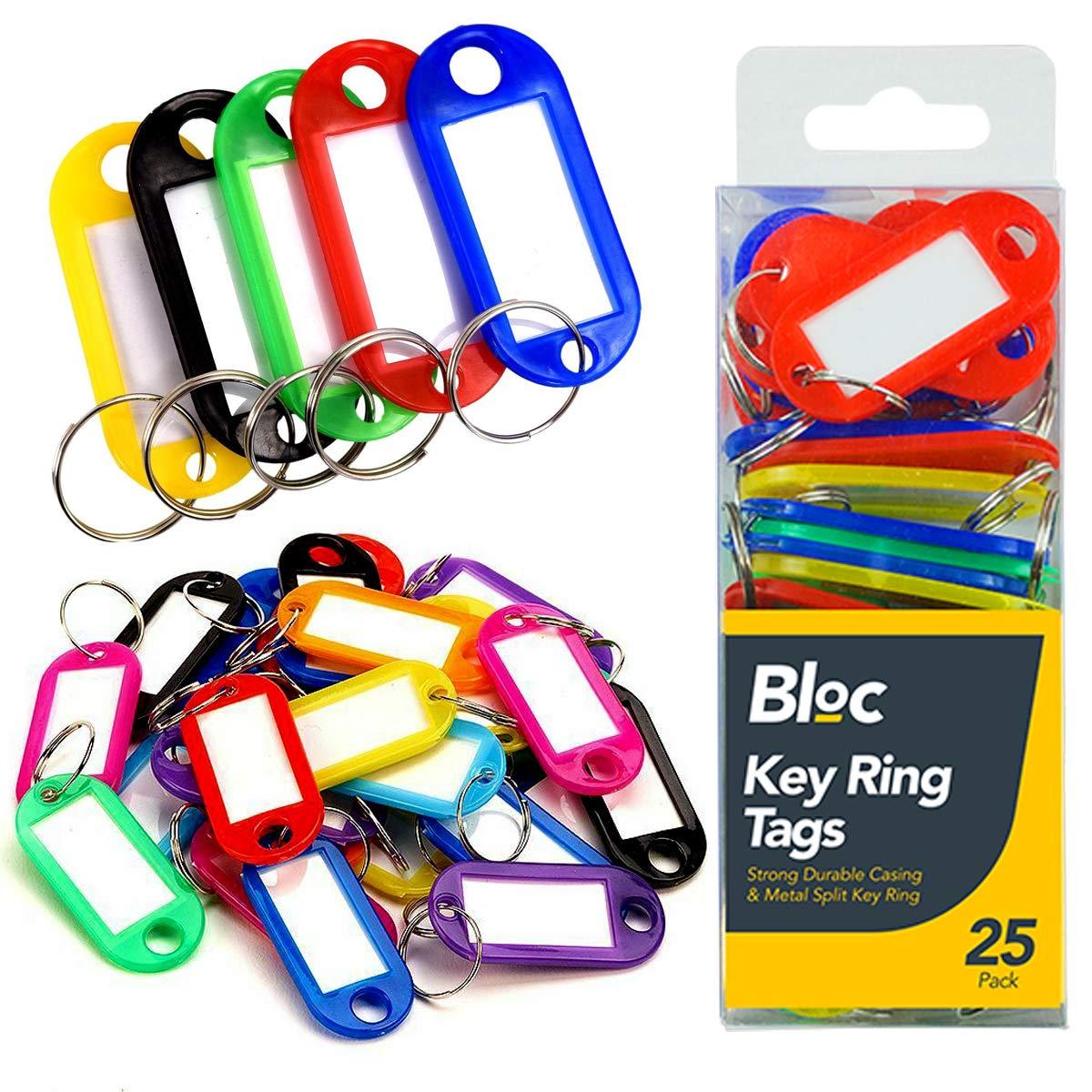 THG® 25 Etiquetas para llaveros con inserciones de papel, plástico dividido de metal, varios colores: Amazon.es: Oficina y papelería