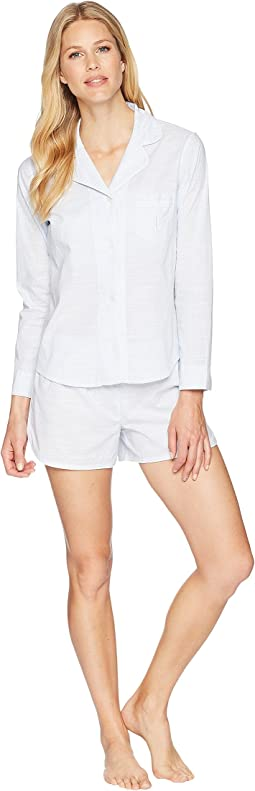 Long Sleeve Notch Collar Boxer Pajama Set